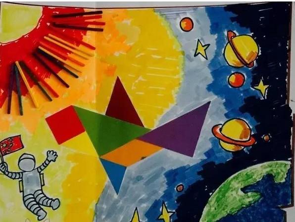 太空剪纸画步骤图