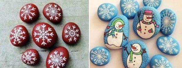 下图就是小朋友们制作的圣诞系列彩绘石头,有木有很可爱!