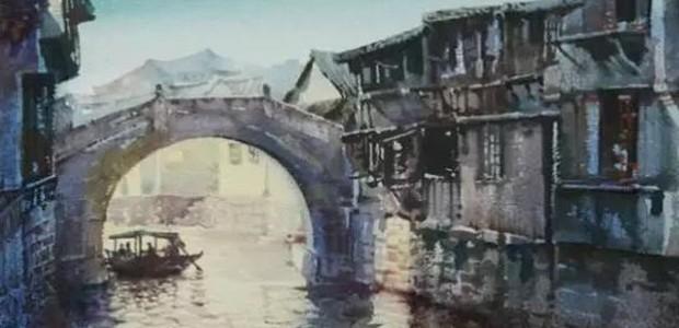 水彩风景画乌镇