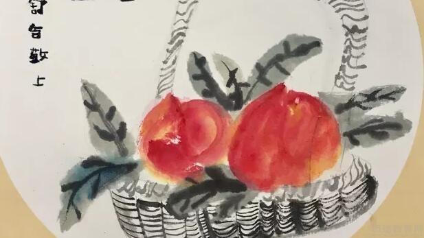 素描静物桃子步骤